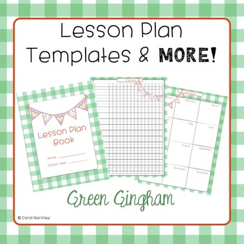 Lesson Plan Templates & More! {Green Gingham with Pendants}