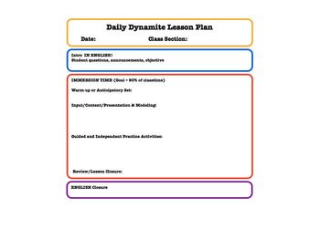 Lesson Plan Templates For Foreign Language Teachers TpT - Language lesson plan template