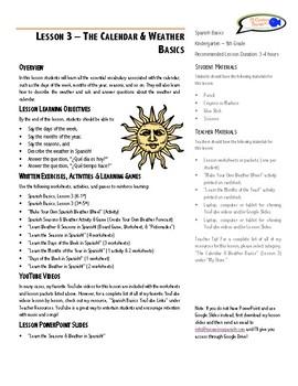 Lesson Plan - The Calendar & Weather Basics
