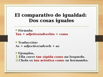 Lesson Plan - The Comparative in Spanish