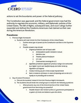 Lesson Plan US History- Federalists vs. Anti-Federalists: The Judiciary