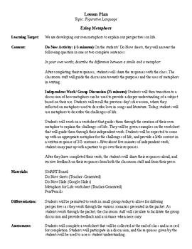 Lesson Plan- Using Metaphors