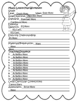 Lesson Plan Worksheet Editable