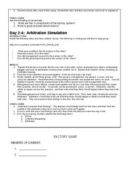Lesson Plan and Materials for Factory Game and Arbitration Simulation