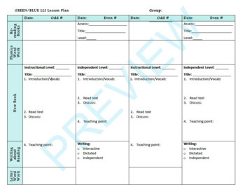 Lesson Plan and Student Notes Template for Green and Blue LLI groups