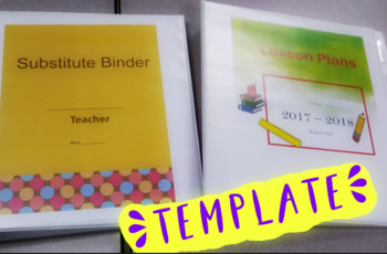 Lesson Plan and Sub Binder Editable Templates