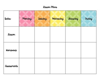 Lesson Plan and Team Planning Template (Weekly)