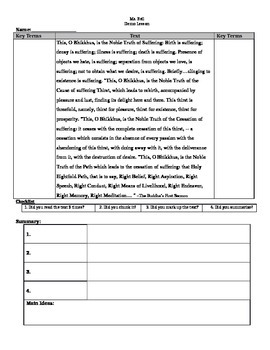 Lesson Plan and Worksheet for Buddhism and Annotation