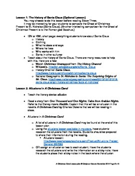 Lesson Plan for A Christmas Carol by Charles Dickens by Cynthia Hansen