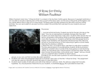 "Lesson Plan for ""A Rose for Emily"" by William Faulkner"