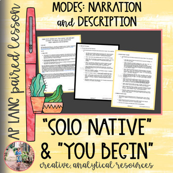 """Lesson Plan for AP Language & Composition: """"Solo Native"""" and """"You Begin"""" (poems)"""