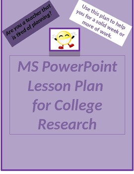 Lesson Plan for PowerPoint College Search