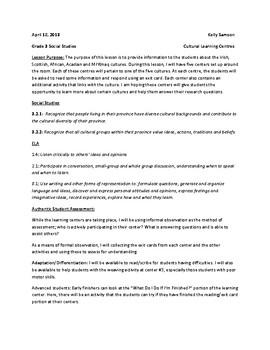Lesson Plan for Cultural Centres (Nova Scotia)