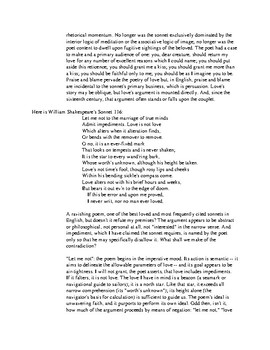 Lesson Plan for Introducing Sonnets and additional teaching notes