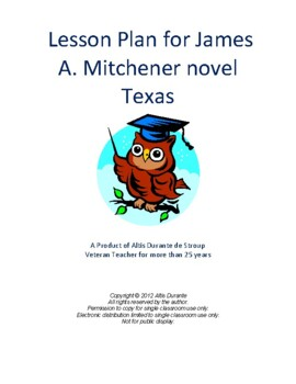 Lesson Plan for James A. Mitchener novel Texas