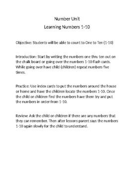 Lesson Plan for Number 1-10 Lesson