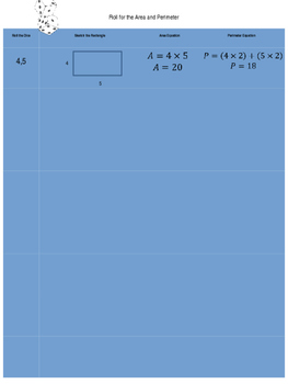 Lesson Plan for Perimeter and Area with worksheet
