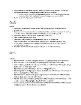 "Lesson Plan for Roald Dahl's ""The Landlady"""