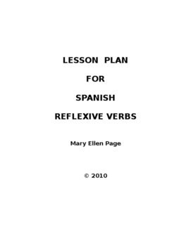 Lesson Plan for Verbos Reflexivos  (Revised)