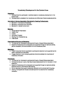 Lesson Plan for Vocabulary Development PD