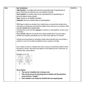 Lesson Plan on Equal Groups Creating only Even Numbers