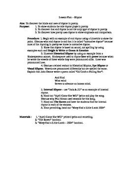 Lesson Plan on Rhyme