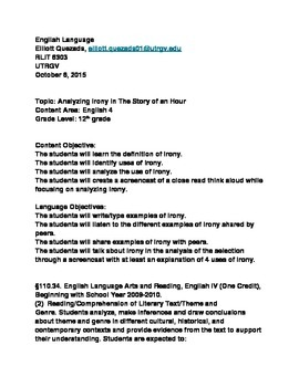 Lesson Plan on The Story of an Hour Skill Irony