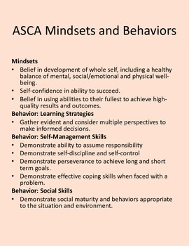Lesson Plan on dealing with Emotions.  ASCA Mindsets and Behaviors