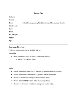 Lesson Plan on the Classical Perspective of Management