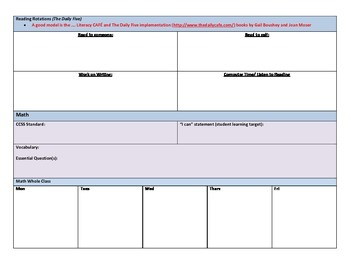 Lesson Plan template for K-5