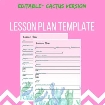 Lesson Plan template- Cactus theme