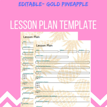 Lesson Plan template- Gold pineapple theme