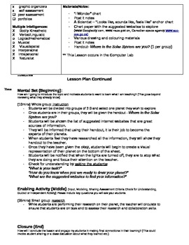Lesson Plan- the planets of the solar system and explorint informational texts