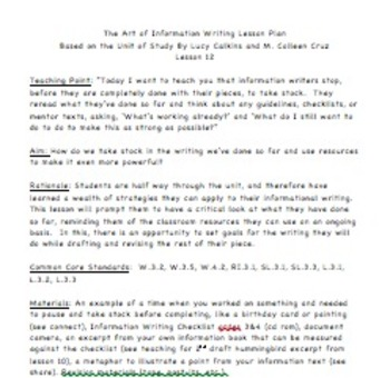 Grade 3 Lesson Plan Session 12/ The Art of Informational Writing