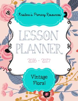 Lesson Planner 2016 - 2017 Vintage Floral