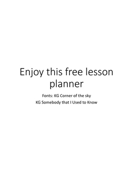 Lesson Planner Freebie Template