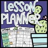 Cactus Lesson Planner & Lesson Plan Template| EDITABLE Teacher Binder 20-21