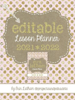 Lesson Planner: Pink and Gold for 2016-2017 & 2017-2018