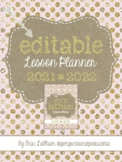 Editable Lesson Planner: Pink and Gold for 2018-2019