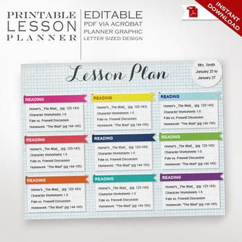 Lesson Planner - Printable Editable Lesson Plan - Teacher Organizer