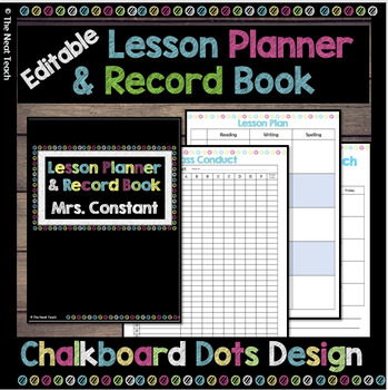 Lesson Planner & Record Book in Chalkboard Dots