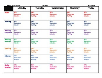 Lesson Planner-Weekly