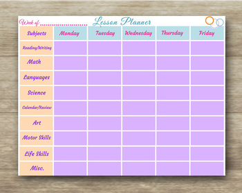 Lesson Planner - Weekly - With and Without Subjects - Teacher & Homeschool