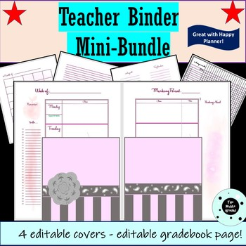 Teacher Binder - Teacher Planner - Happy Planner or Disc Planner Mini Bundle