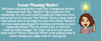 Lesson Planning Binder: Specialty Teachers