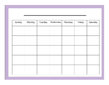Lesson Planning Blank Calender