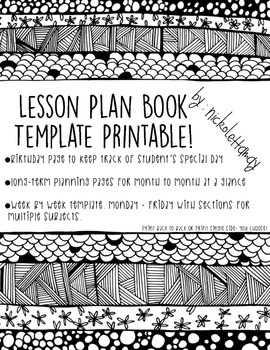 Lesson Planning Book - Template Printable