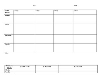 Lesson Planning Grid for Guided Reading/Title 1