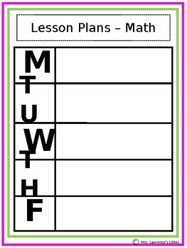 Lesson Planning Pages- FREE RESOURCE