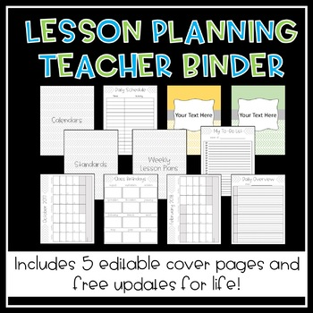 Lesson Planning Teacher Binder (INCLUDES FREE UPDATES FOR LIFE)